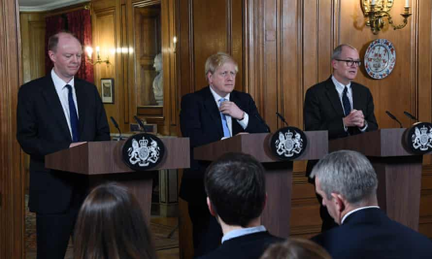 Boris Johnson (centre), chief medical officer for England, Chris Whitty (left) and chief scientific adviser, Patrick Vallance, at a coronavirus press conference in early March.