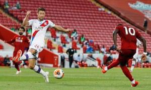 Liverpool's Sadio Mane scores their fourth goal.