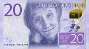 Swedish banknote showing children's writer Astrid Lindgren, the creator of Pippi Longstocking.