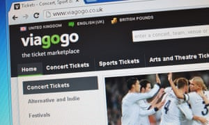 A screenshot of the Viagogo ticket-selling site.