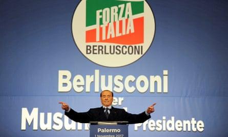 Forza Italia party leader Silvio Berlusconi at a rally in Palermo in November 2017