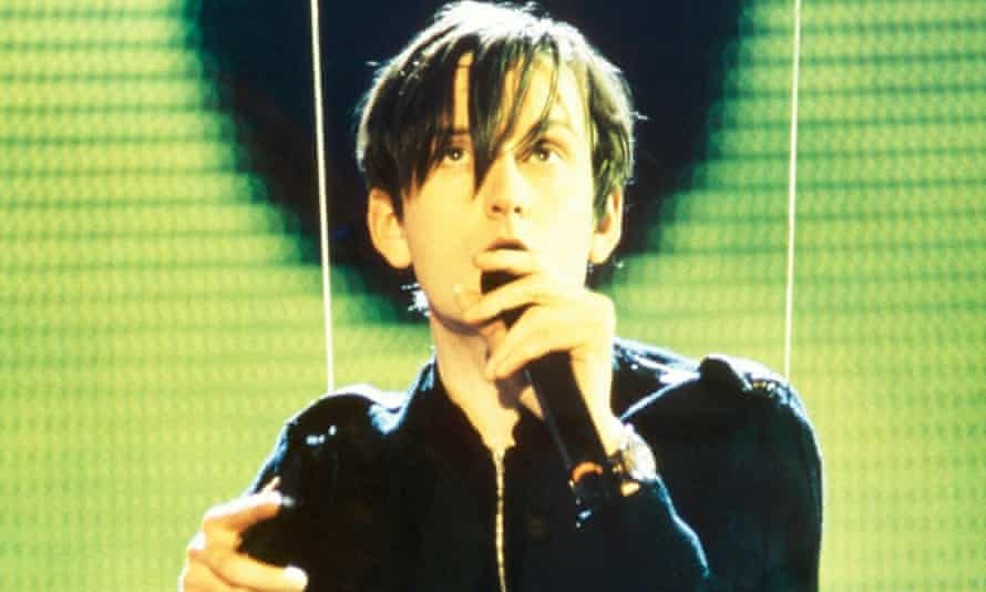 Just before the incident ... Jarvis Cocker performing with Pulp before his stage invasion at the Brit awards, 1996.