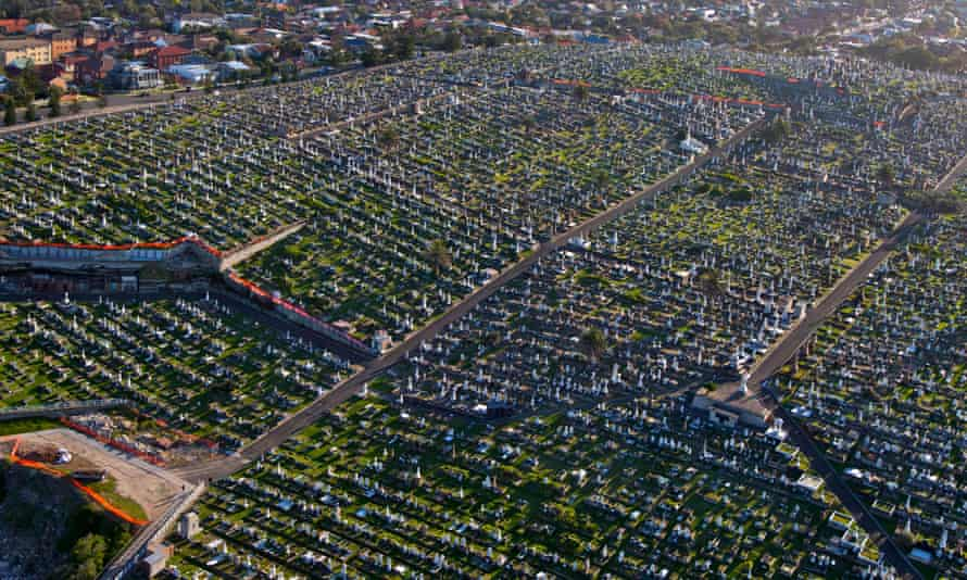 aerial view of large cemetery