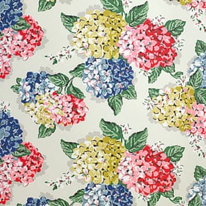 red pink yellow green blue hydrangea patterned wallpaper