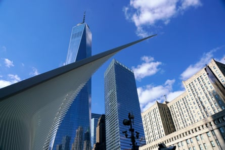 Oculus with Freedom Tower, also known as One World Trade Center, Manhattan, New York City, USA.