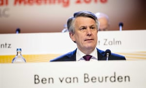 Shell chief executive Ben van Beurden at the company's AGM.