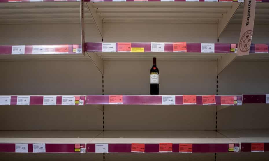 Empty supermarket shelves in Chippenham in March.