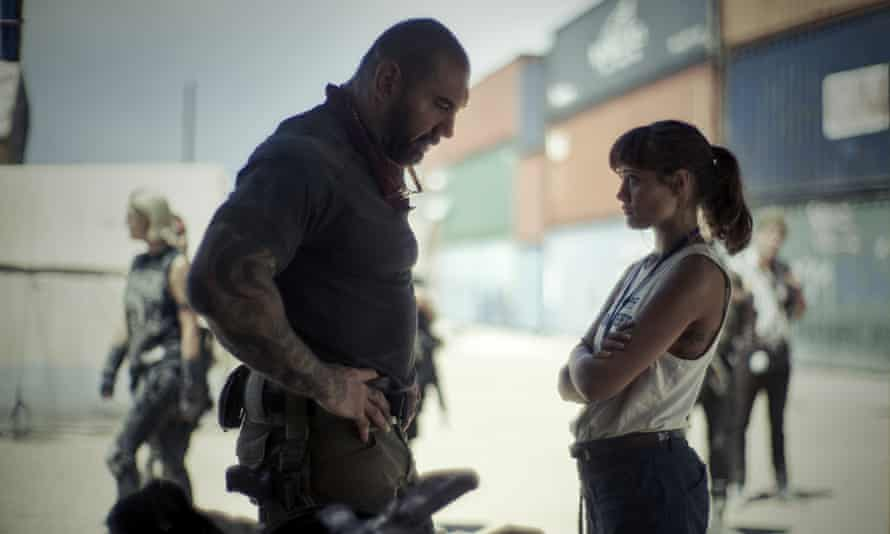 Dave Bautista, left, and Ella Purnell in Army of the Dead.