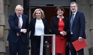 Left to right: Boris Johnson, Michelle O'Neill, Arlene Foster and Julian Smith.
