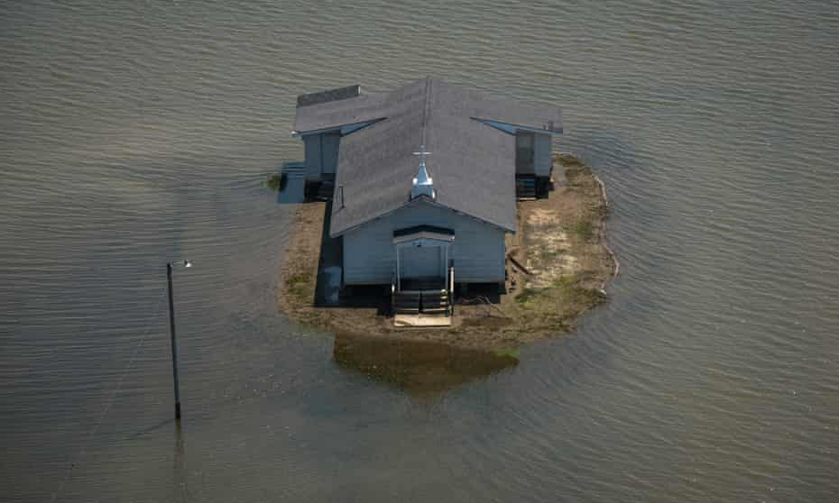 Backwater flooding surrounds Pleasant Grove Baptist church in Issaquena county.