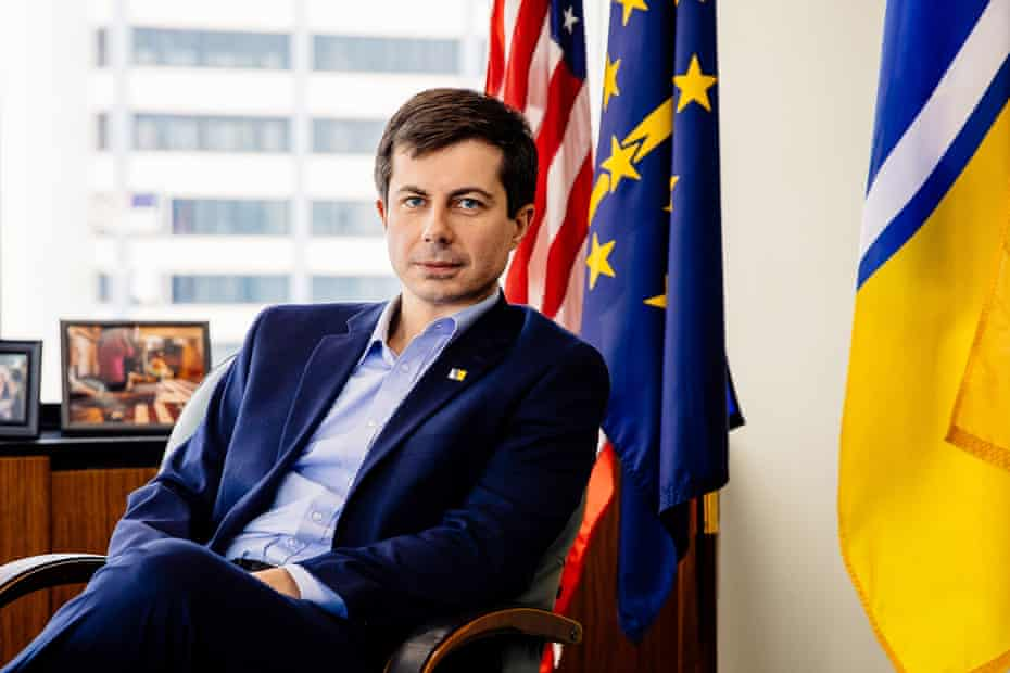 Pete Buttigieg in his office in South Bend, Indiana.