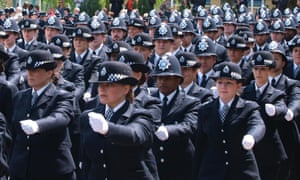 Police officers marching