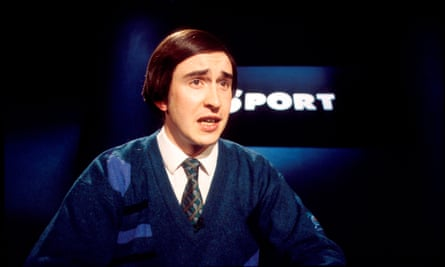 Grandstanding … young Alan, sports presenter on The Day Today.