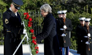 May lays a wreath at the Tomb of the Unknown Soldier at Arlington National Cemetery.