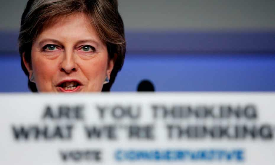 Theresa May gives a speech in 2005 during the general election campaign, with the Conservative party's slogan to the fore.