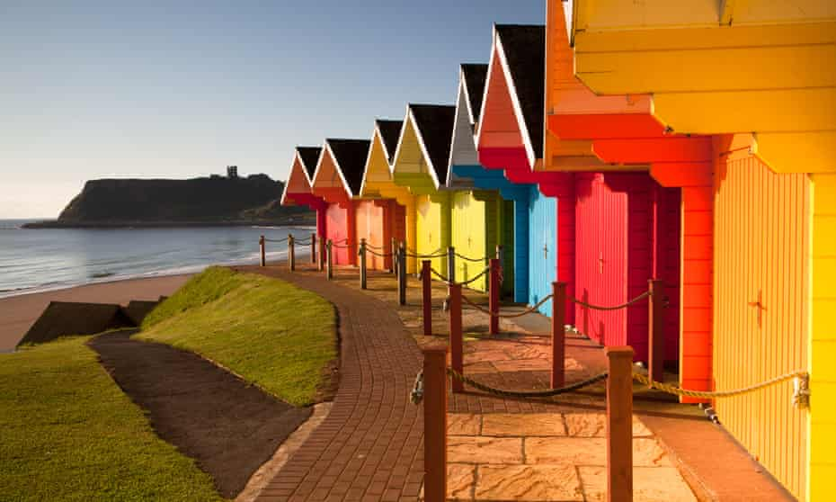 Colourful beach huts: Scarborough, UK.