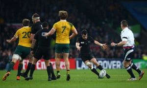 Dan Carter scores the crucial drop-goal to steady the All Blacks.