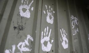 Handprints at an Aboriginal community