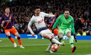 Son Heung-Min of Tottenham Hotspur fires in the first goal of the game.