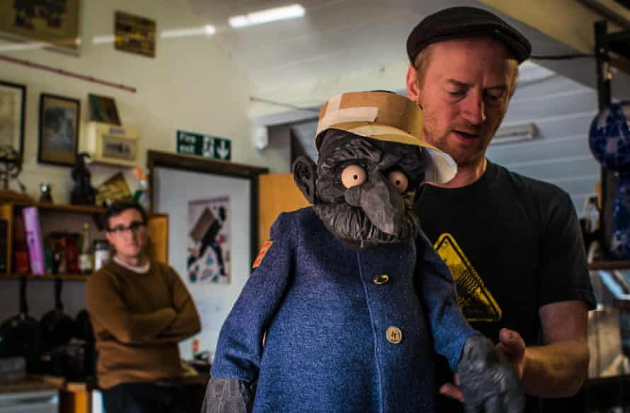 Chris Pirie, artistic director of Green Ginger, with a puppet from their touring production, Outpost.