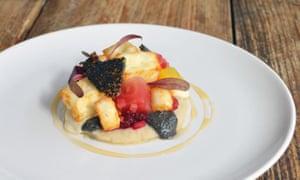 Plate of fruit salad dessert at Flow, Bristol.