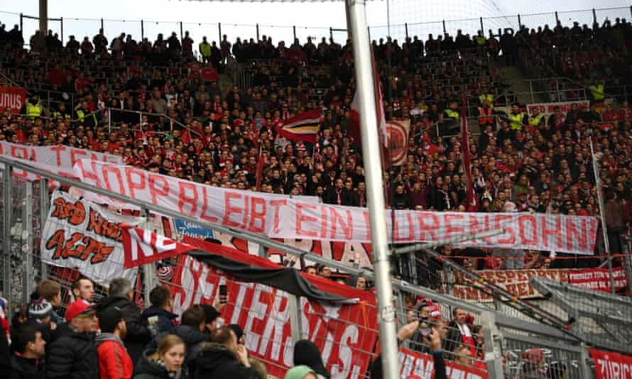 Bayern fans demonstrate during the Bundesliga match at Hoffenheim.