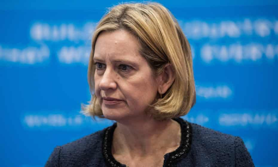 Amber Rudd wears a dark blue blazer at the Conservative party conference.