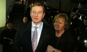 Irish Prime Minister Enda Kenny and his wife Fionnuala arrive at the count for his own constituency in Mayo, on February 27, 2016.