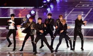 'Creating a comradeship of equals' ... Monsta X performing in Pyeongchang-gun, South Korea last November.