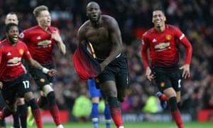 Romelu Lukaku celebrates scoring Manchester United's winner against Southampton at Old Trafford.