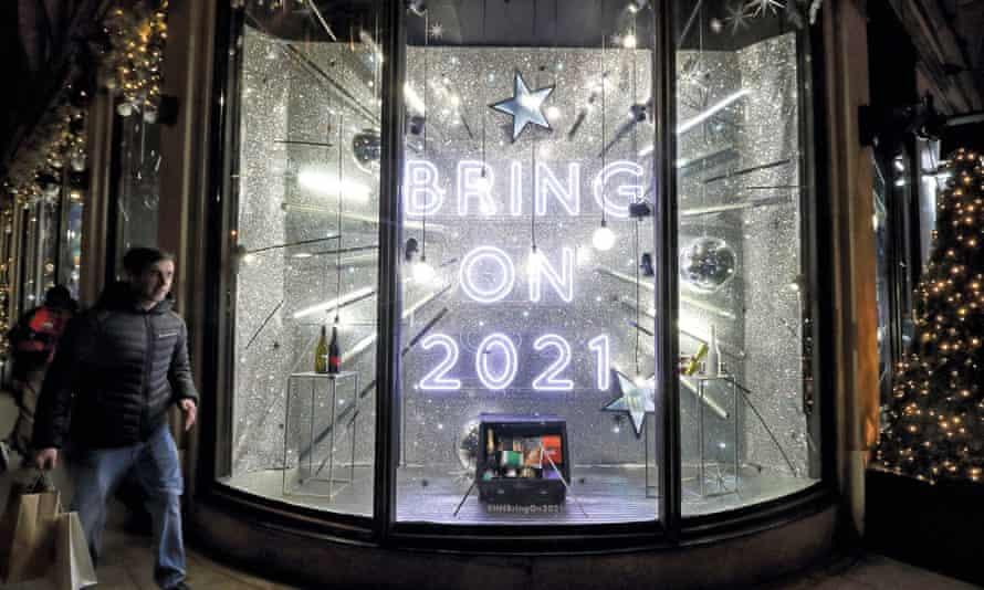 A 'Bring on 2021' sign on the main window of Harvey Nichols' Knightsbridge store in London.
