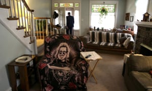 A Jerry Garcia blanket covers Greg Longenecker's chair at a home he shared in Reading, Pennsylvania.