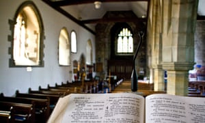 Interior of English church seen from pulpit