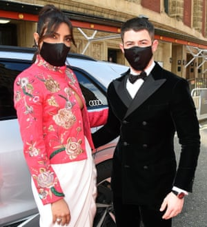Priyanka Chopra Jonas and Nick Jonas in their finery.