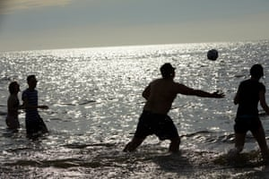 Nottingham students play rugby in the sea during a four-day break in Blackpool
