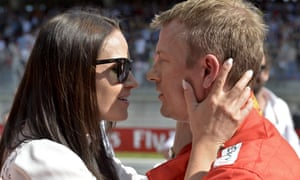 Minttu Virtanen, pictured with husband Kimi Raikkonen in Austria, has weighed in on Lewis Hamilton's comments.