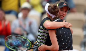 Johanna Konta congratulates Marketa Vondrousova after their semi-final.