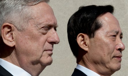 James Mattis, left, with South Korea's defense minister, Song Young-moo. In a scene typical of the Trump administration, Mattis contradicted the president's views on North Korea.