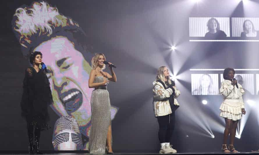Montaigne, Delta Goodrem, Tones & I and Marcia Hines perform during the Helen Reddy Tribute at the 2020 ARIA Awards in Sydney.