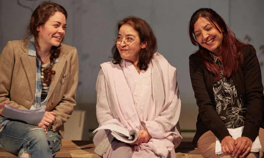 Haley McGee, Mia Soteriou and Anjali Mya Chadha in Made Visible by Deborah Pearson at The Yard theatre.