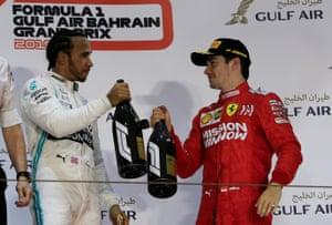 Hamilton celebrates with Leclerc.