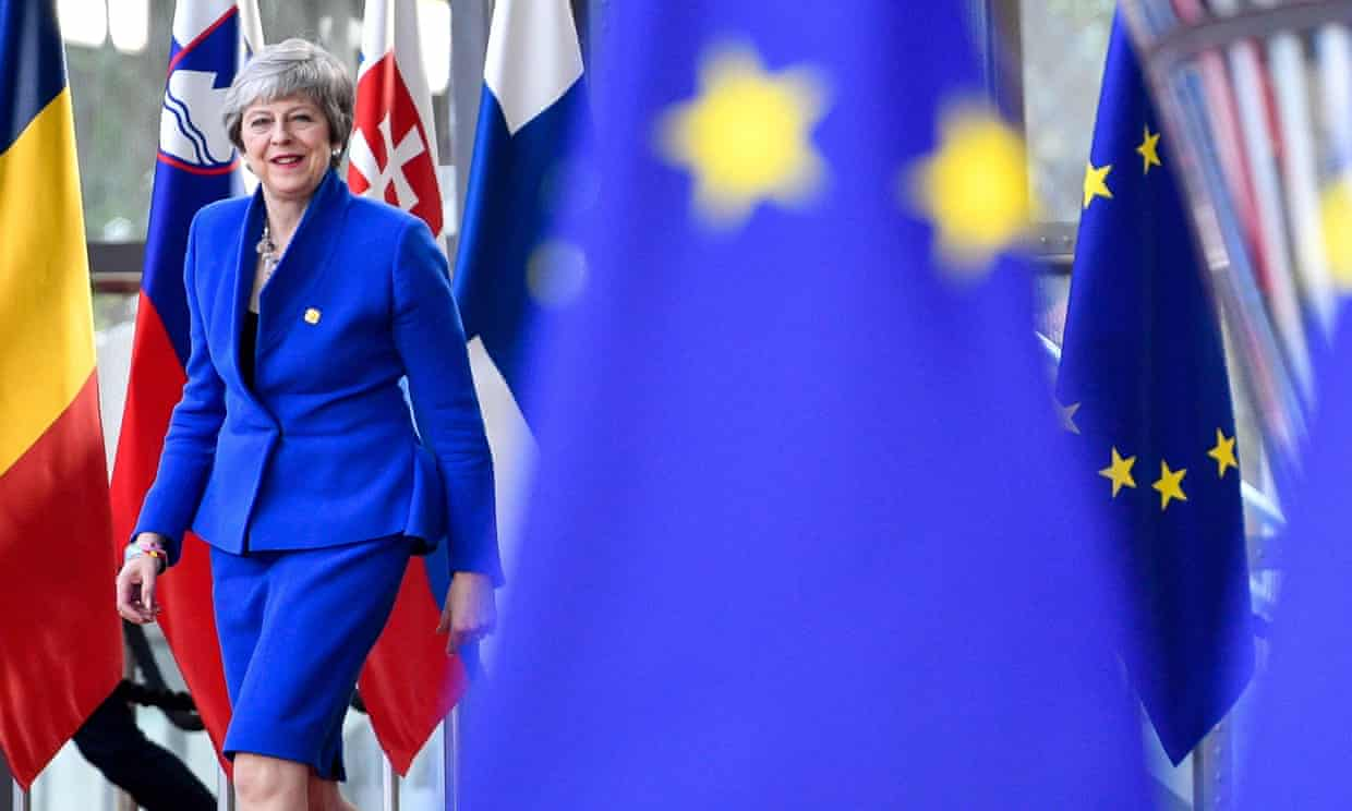 Theresa May arriving ahead of a European council meeting on Brexit in Brussels on Wednesday