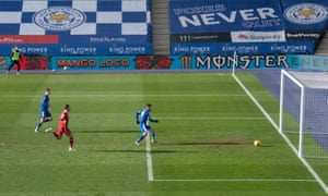 Leicester City's Jamie Vardy scores their second goal.