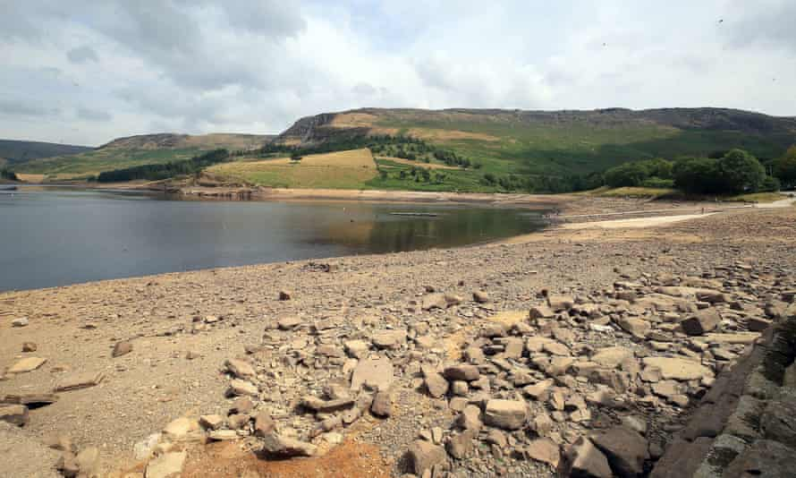 Low water levels on Dove Stone reservoir on Saddleworth Moor near Oldham