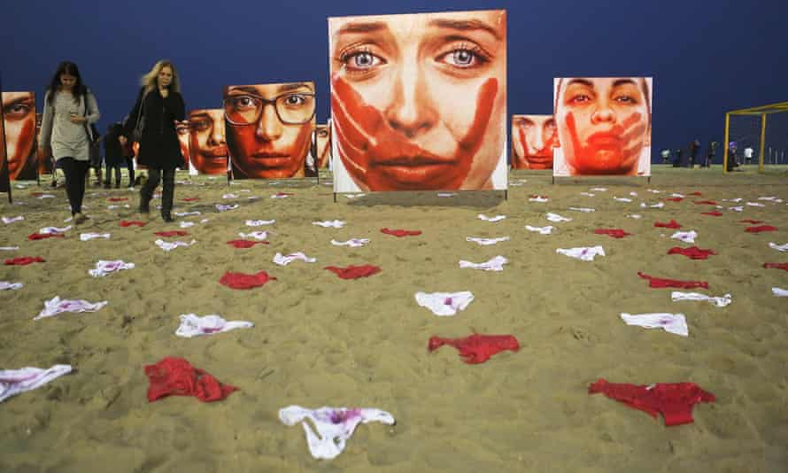 A protest on Rio's Copacabana beach against the abuse of women, staged by the organisation Rio de Paz, who said the 420 pairs of underwear represent the number of women raped in Brazil every 72 hours
