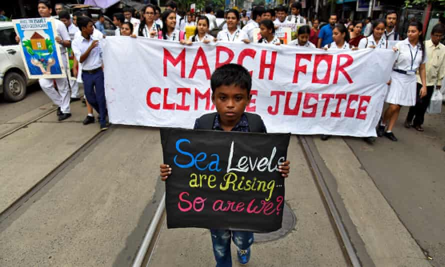 Students on a Fridays For Future march in Kolkata, India
