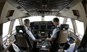Pilots in cockpit of 747-400