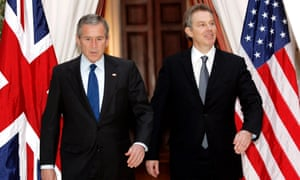 File photo of U.S. President Bush walking with British Prime Minister Blair in BrusselsU.S. President George W. Bush (L) and British Prime Minister Tony Blair walk together from their meeting at the U.S. Embassy in Brussels, February 22, 2005. REUTERS/Kevin Lamarque/File Photo