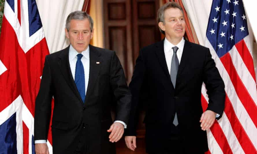 Tony Blair and George W Bush.
