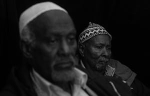Jama Hersi, (right) 82, and Ada Ibrahim, 82, who both came to Wales from Somalia in the 1960s to work on the coal ships delivering Welsh coal to the ports of Liverpool and Newcastle. Both live in Butetown, Cardiff, the centre of Wales's Somali community